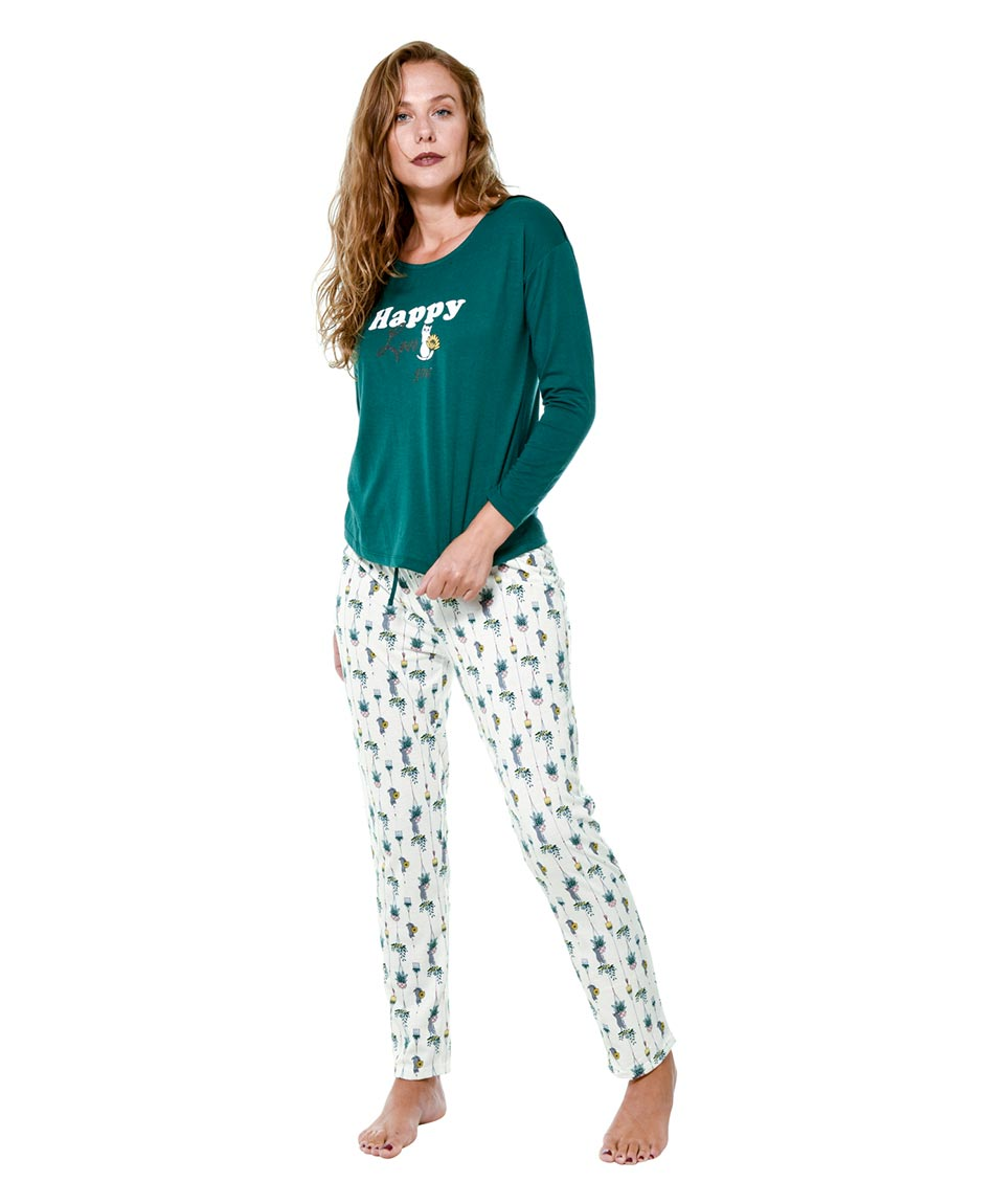 PIJAMA COTTON  GREEN PRINT