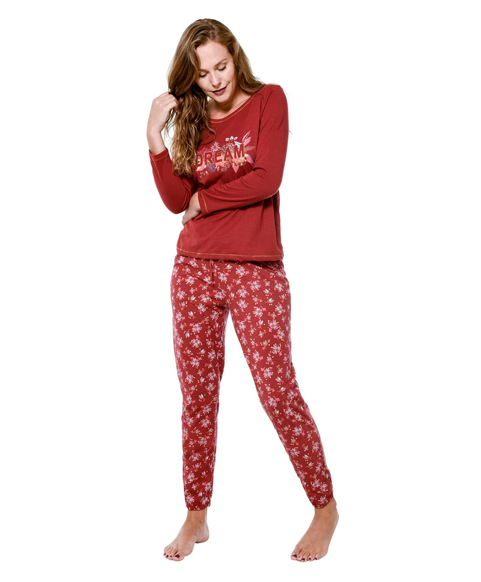 PIJAMA COTTON  ROJO PRINT