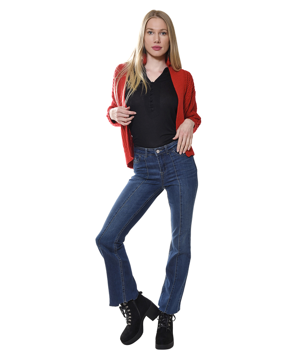 JEANS FLARE CORTE FRONTAL