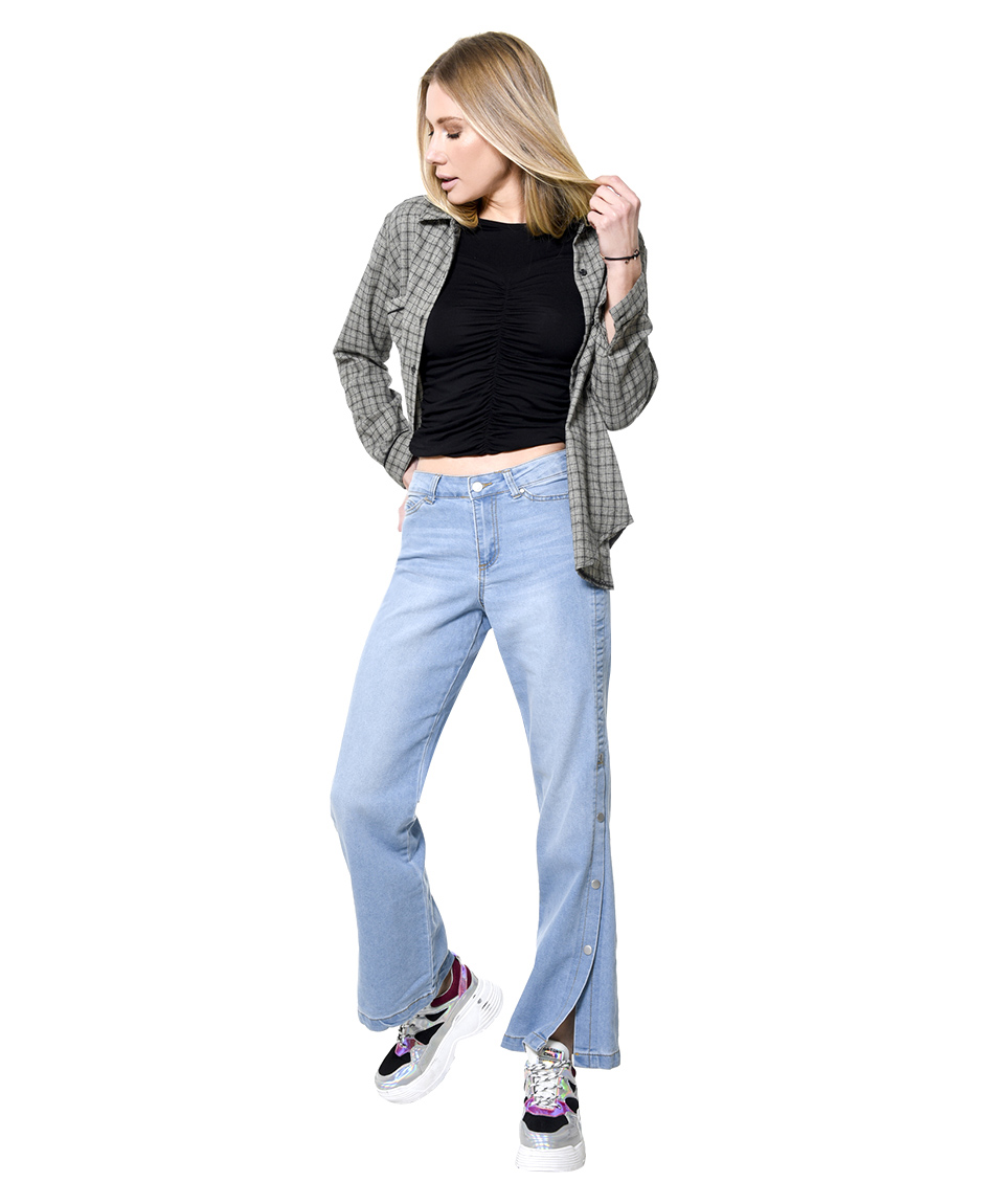 JEANS BROCHES LATERAL